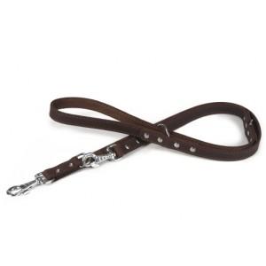 Braune Nieten Leder - Hundeleine (200cm)