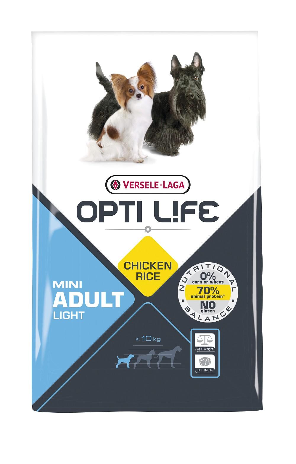 Opti Life Mini Adult Light Hundefutter mit viel Huhn&Reis