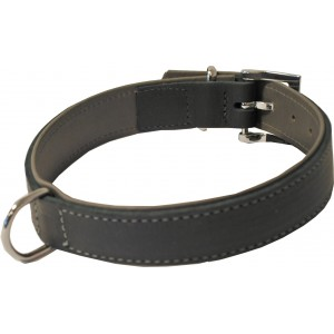 Hunde - Lederhalsband Schwarz/Grau