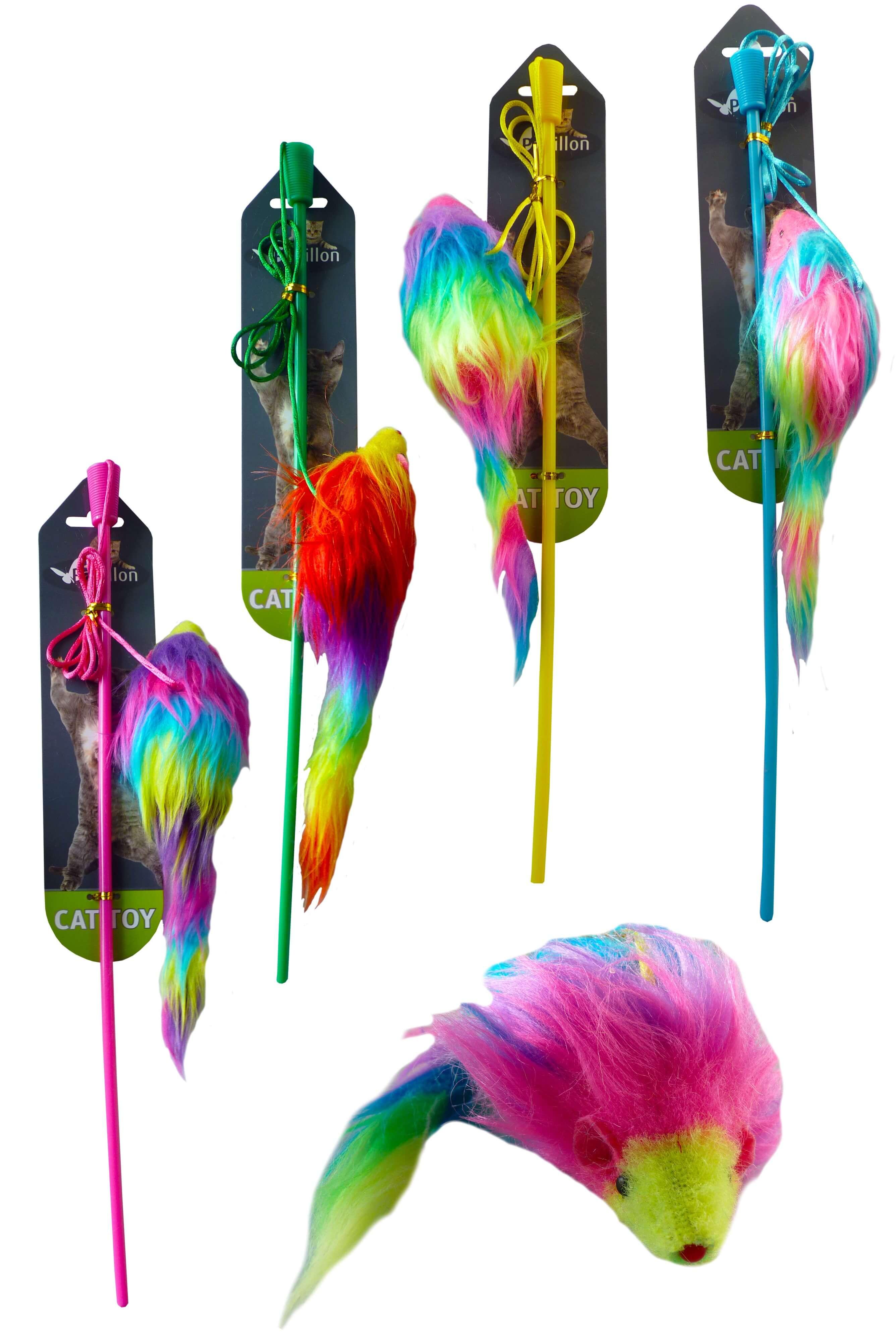 Angelrute mit Regenbogenmaus für die Katze