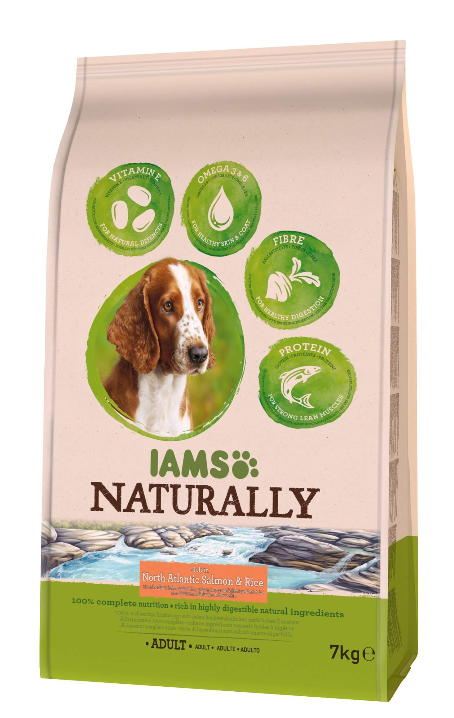 Iams Naturally Adult Lachs & Reis Hundefutter