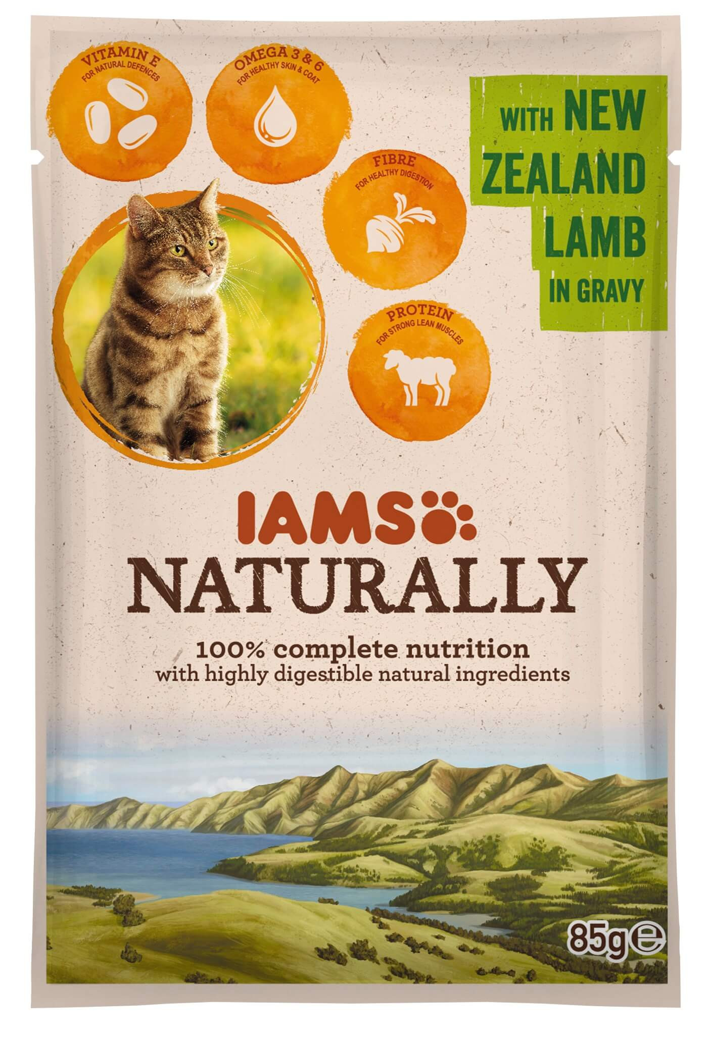 Iams Naturally Adult Lamm in Soße 85 Gramm Katzenfutter
