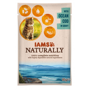 Iams Naturally Adult Kabeljau in Soße 85 Gramm Katzenfutter