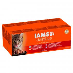 Iams Delights Land & Sea Collection 48 x 85g Beutel Katzenfutter