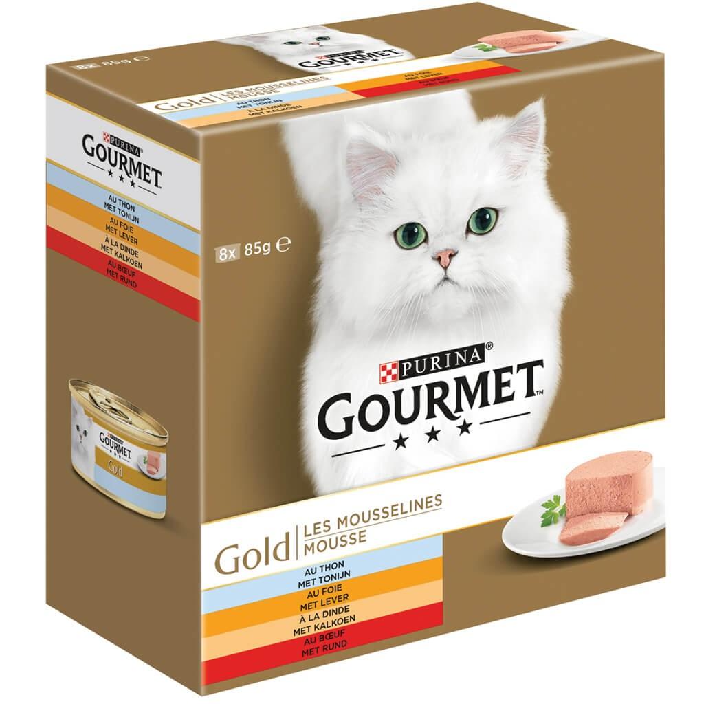 Gourmet Gold 8-Pack Mousse Thunfisch/Leber/Truthahn/Rind Katzenfutter