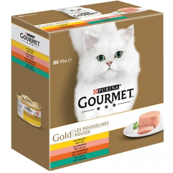 gourmet gold 8 pack moussehuhn lachs nieren kaninchen katzenfutter. Black Bedroom Furniture Sets. Home Design Ideas