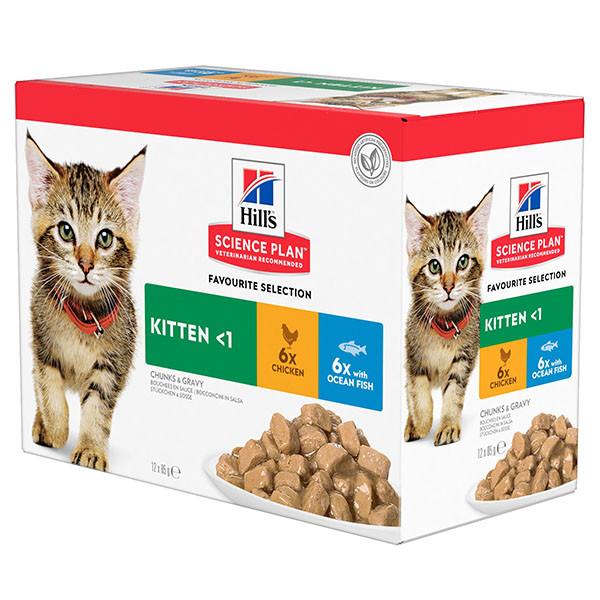 Hill's Kitten Favourite Selection Kombi Huhn Seefisch Katzen-Nassfutter 85g