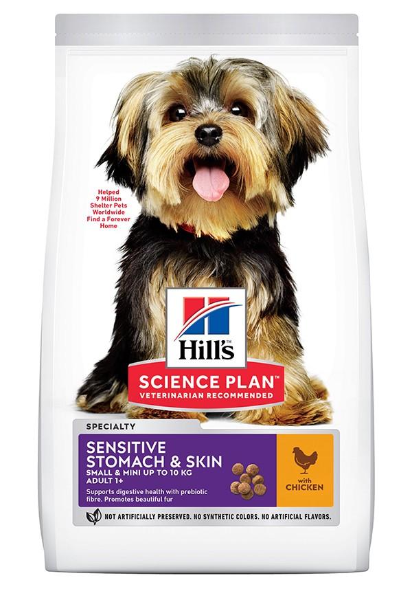 Hill´s Adult Sensitive Stomach & Skin Small & Mini Kip hond