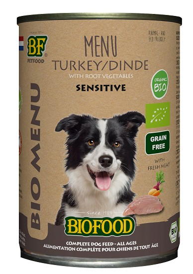 Biofood Organic Kalkoen menu blik 400 gr hondenvoer