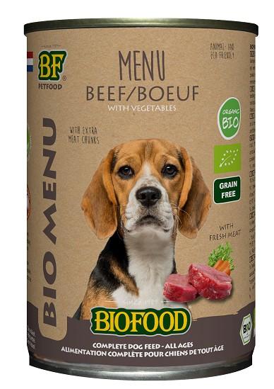 Biofood Organic Rund menu blik 400 gr hondenvoer