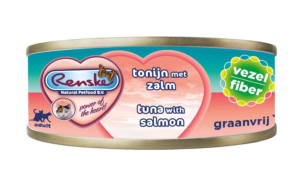 Renske Faser Thunfisch mit Lachs Katzen-Nassfutter (70 Gramm)