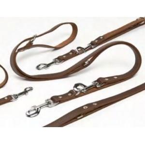 Längenverstellbare braune Leder - Hundeleine max. 240cm