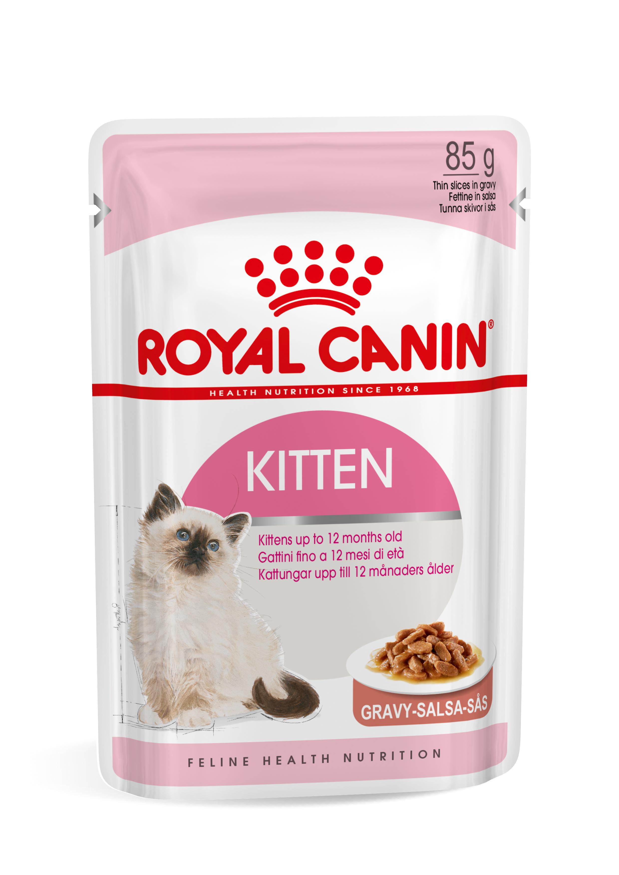 Royal Canin Kitten natvoer x12 1x Saus + 1x Gelei (24x85 gr)